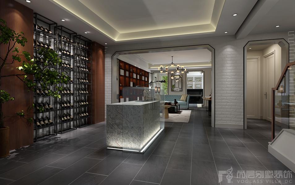 红杉溪谷新中式餐厅别墅装修效果图