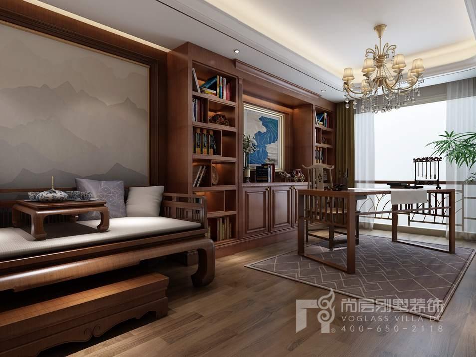 千章墅法式新古典地下一层书房别墅装修效果图