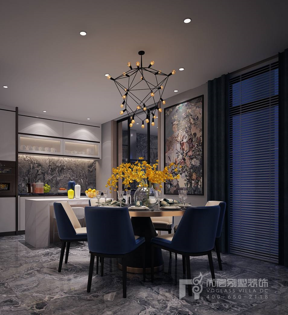 北京院子现代简约餐厅别墅装修效果图
