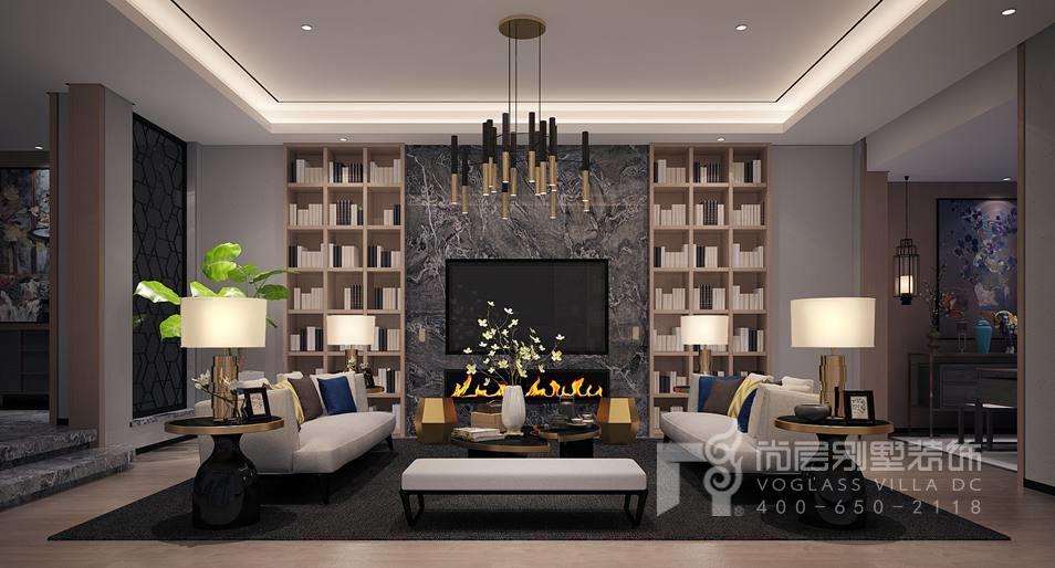 北京院子现代简约客厅别墅装修效果图