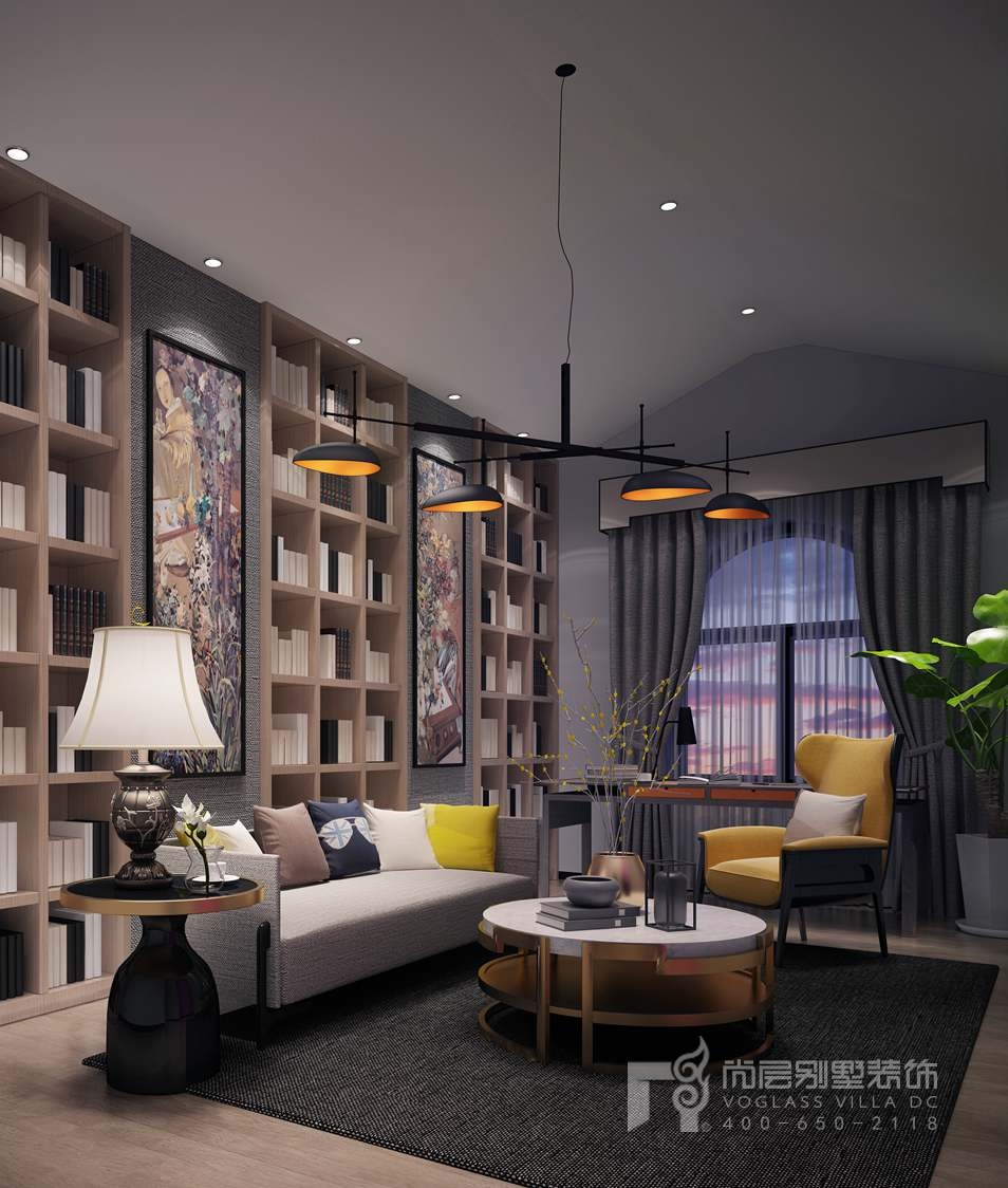 北京院子现代简约书房别墅装修效果图