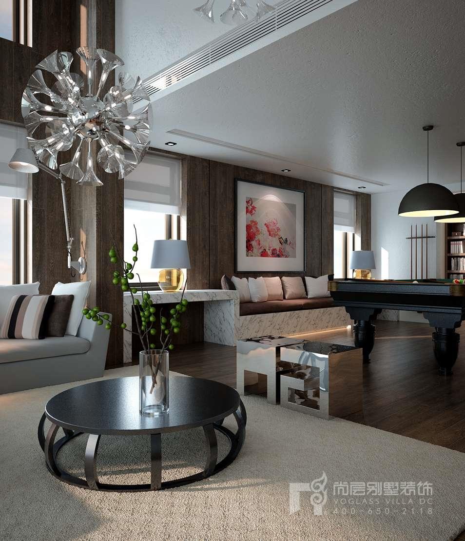 上东别墅装修位于东四环北路,尚层装饰设计师张治国采用现代简约风格