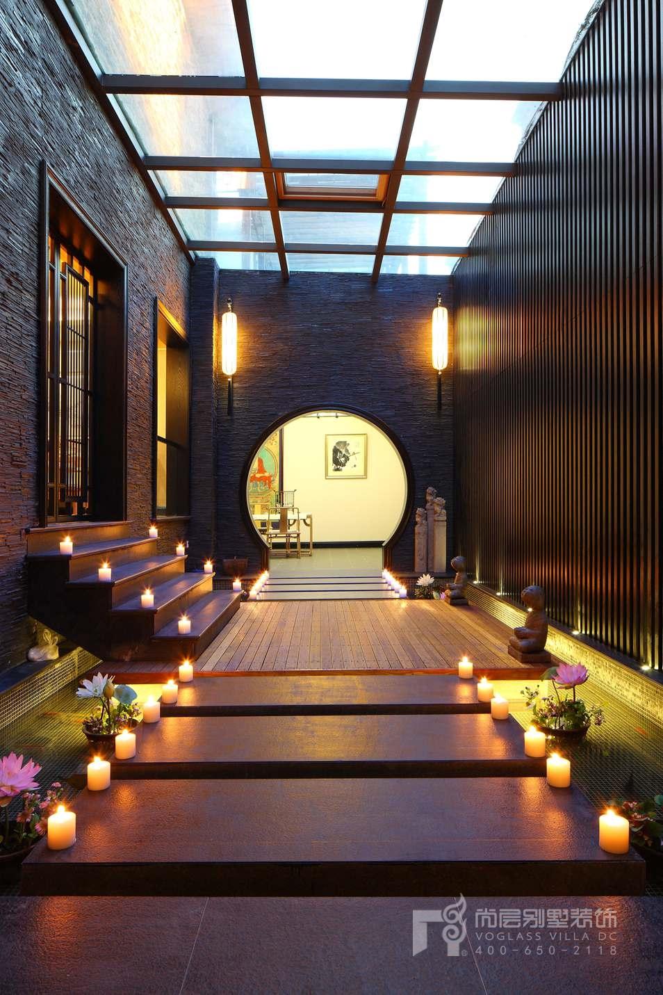 君山高尔夫中式新古典走廊别墅装修实景图
