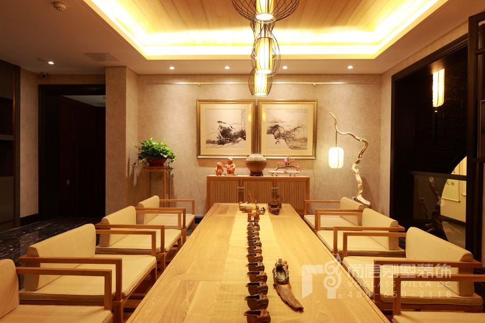 君山高尔夫中式新古典茶室别墅装修实景图