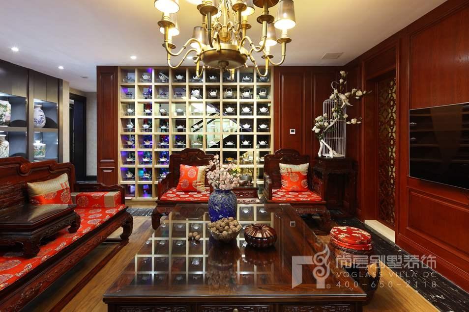君山高尔夫中式新古典收藏室别墅装修实景图