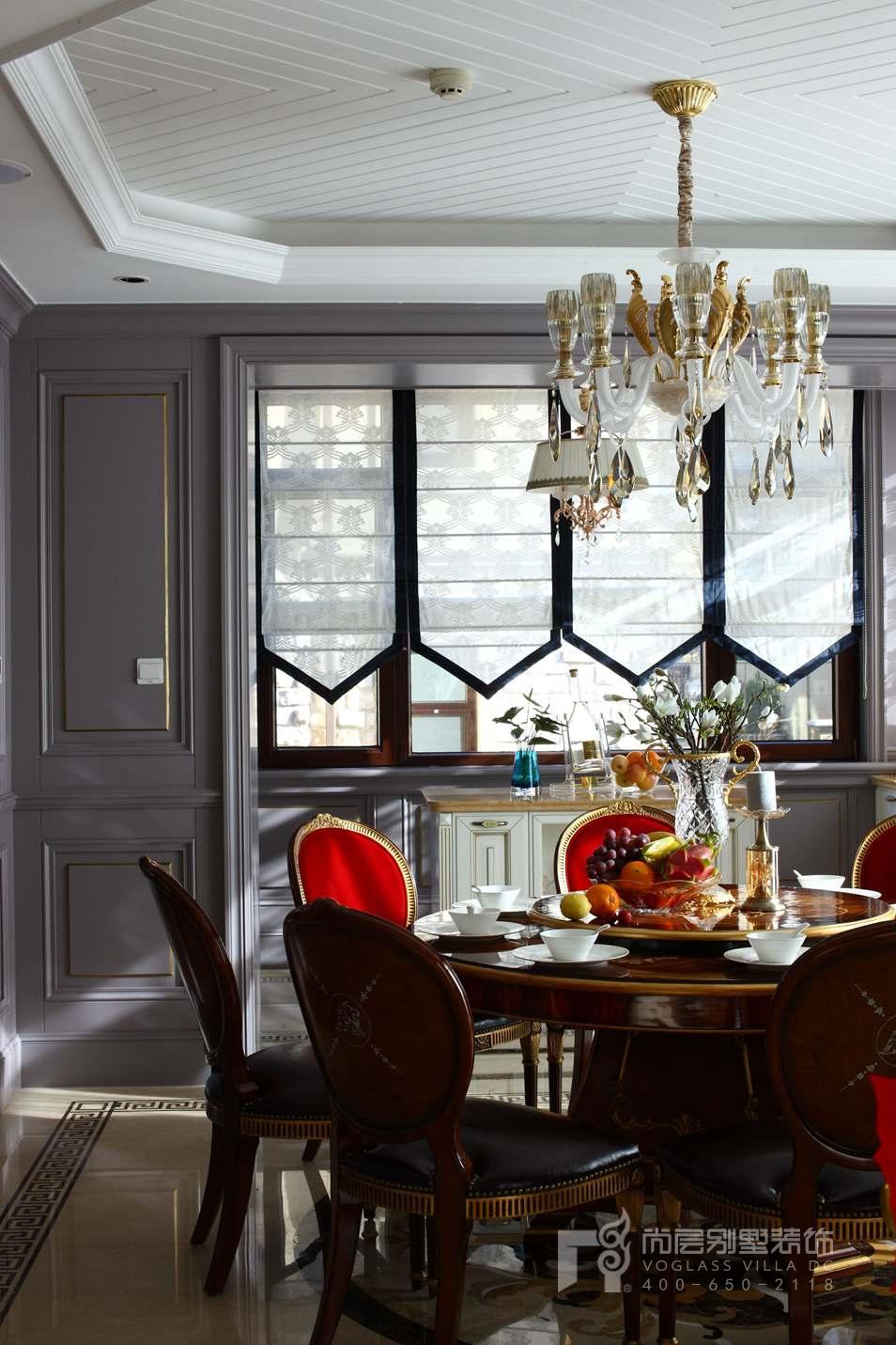 君山高尔夫中式新古典餐厅别墅装修实景图
