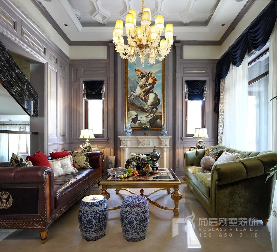 君山高尔夫中式新古典客厅别墅装修实景图