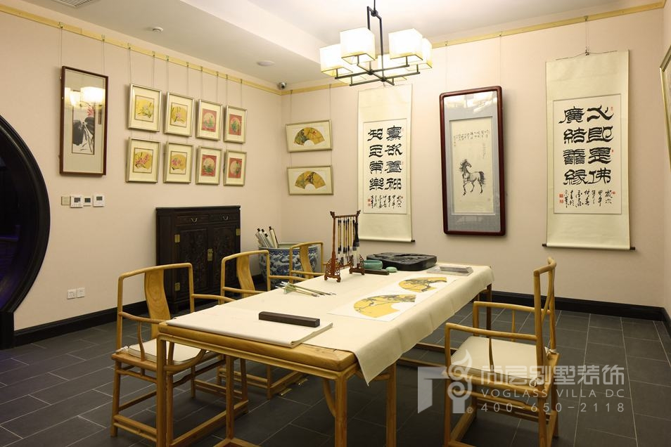 君山高尔夫中式新古典地下书房别墅装修实景图
