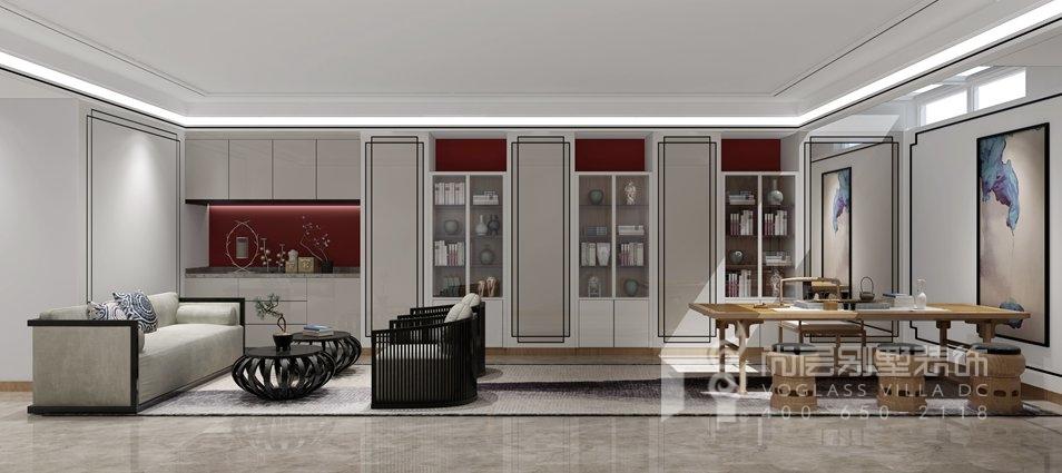 鲁能七号院现代简约地下书房别墅装修效果图