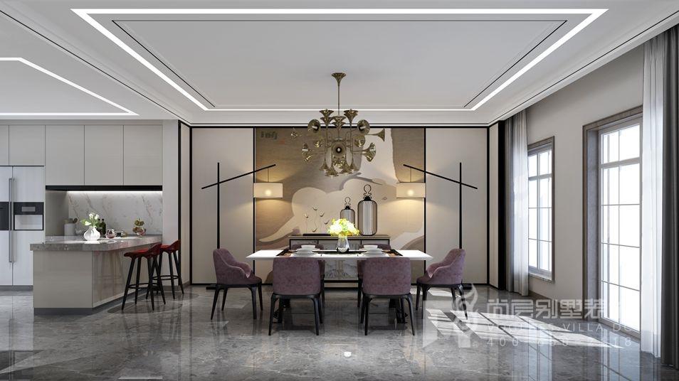 鲁能七号院现代简约餐厅别墅装修效果图