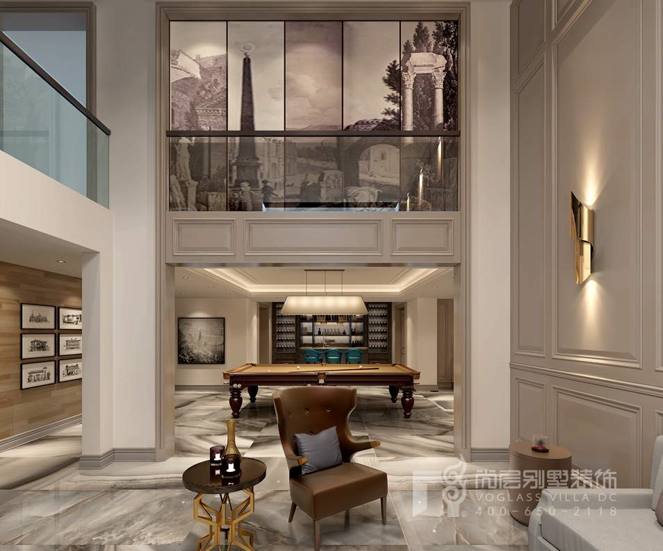 金地中央世家新古典台球室别墅装修效果图
