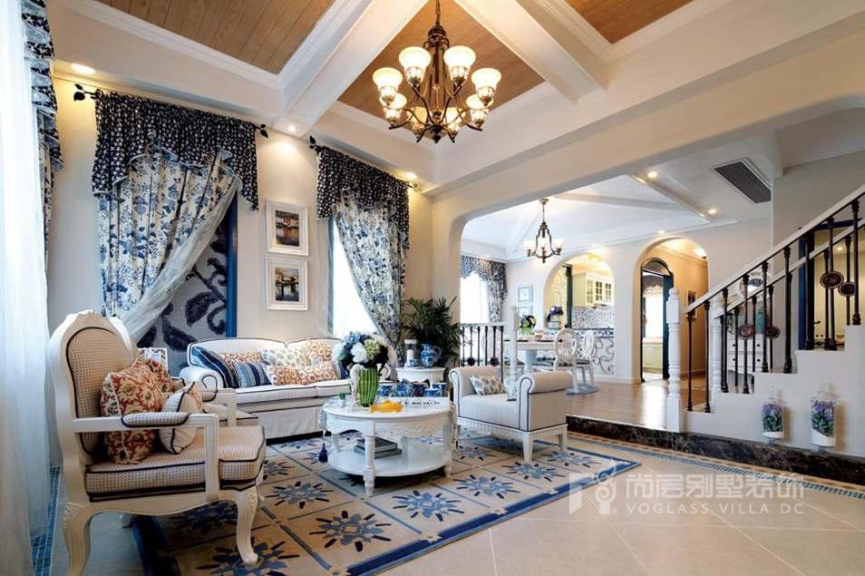 优山美地地中海风格客厅别墅装修实景图