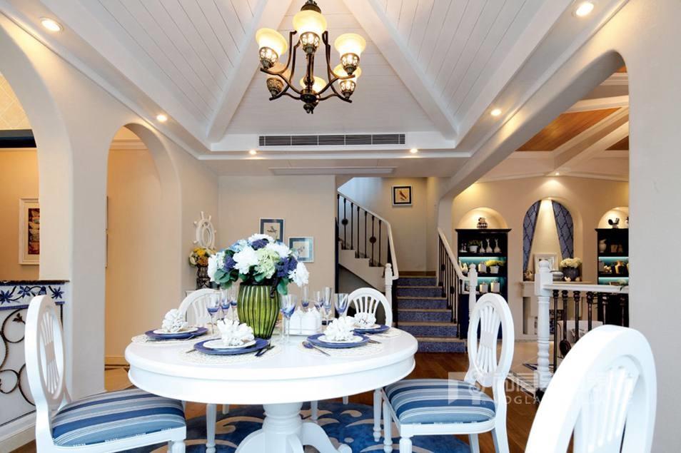 优山美地地中海风格餐厅别墅装修实景图