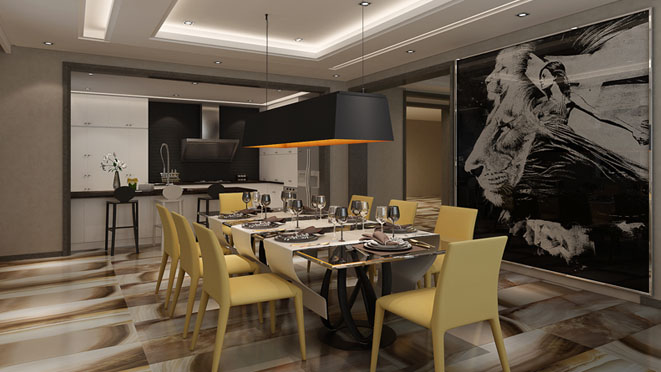 中海尚湖世家现代餐厅别墅装修效果图