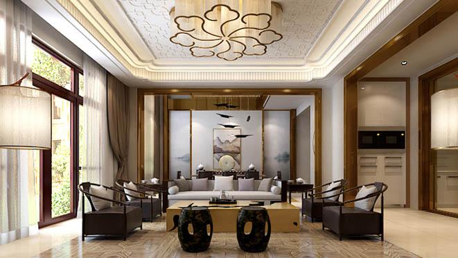 双珑原著新中式客厅别墅装修效果图