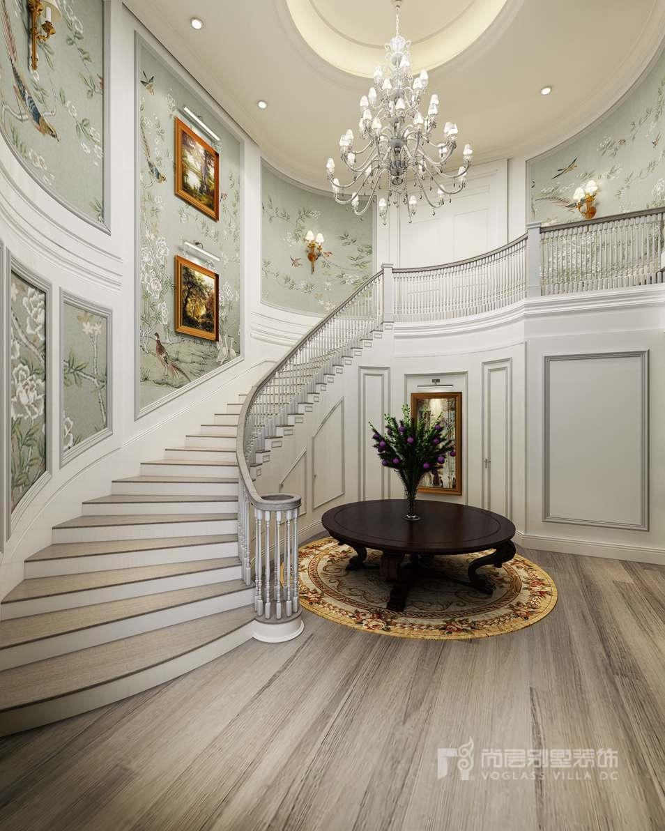 頤和原著簡歐樓梯間別墅裝修效果圖