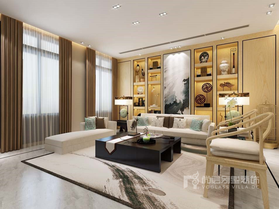 中海尚湖世家新中式客厅别墅装修效果图