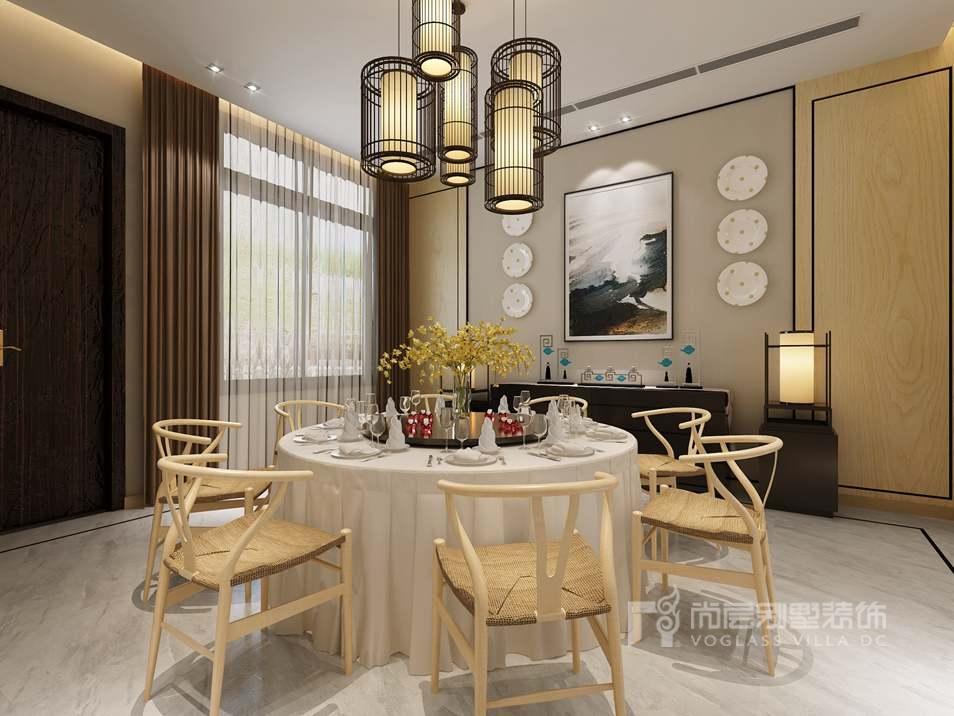 中海尚湖世家新中式餐厅别墅装修效果图