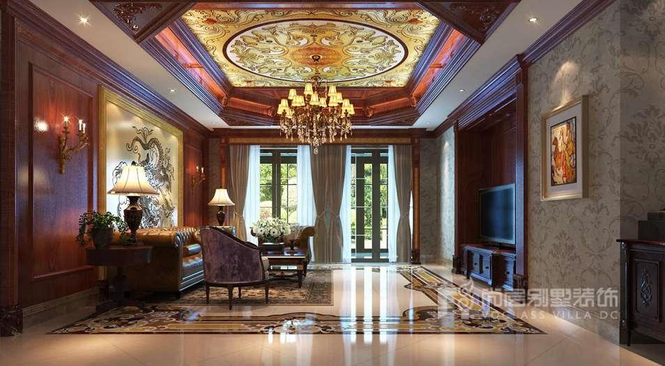 御汤山美式客厅别墅装修效果图