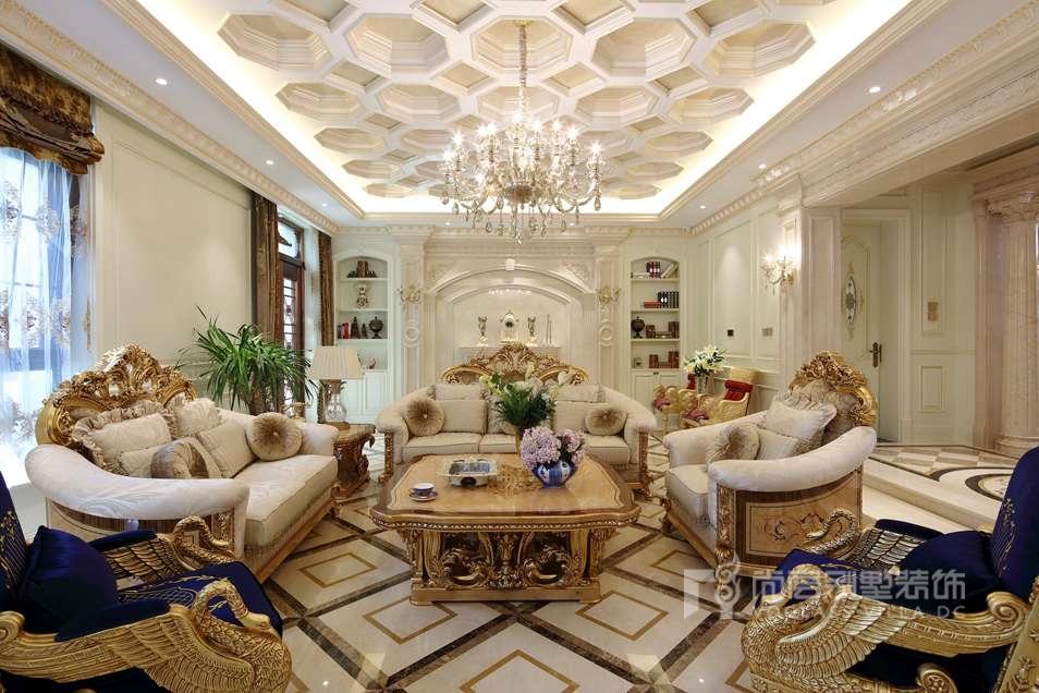 远洋天著法式新古典客厅别墅装修实景图