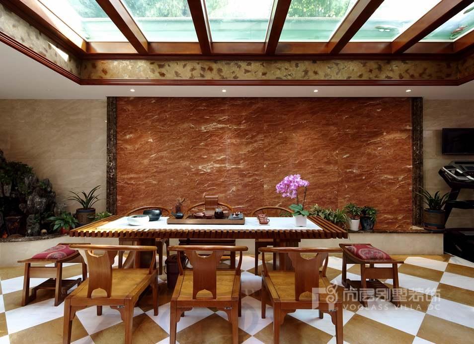 远洋天著法式新古典茶室别墅装修实景图
