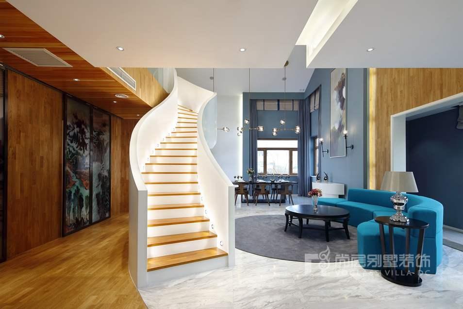 现代简约客厅别墅装修实景图