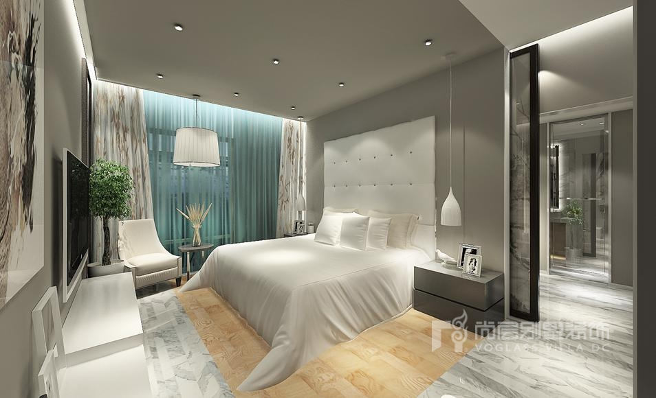 现代简约卧室别墅装修效果图