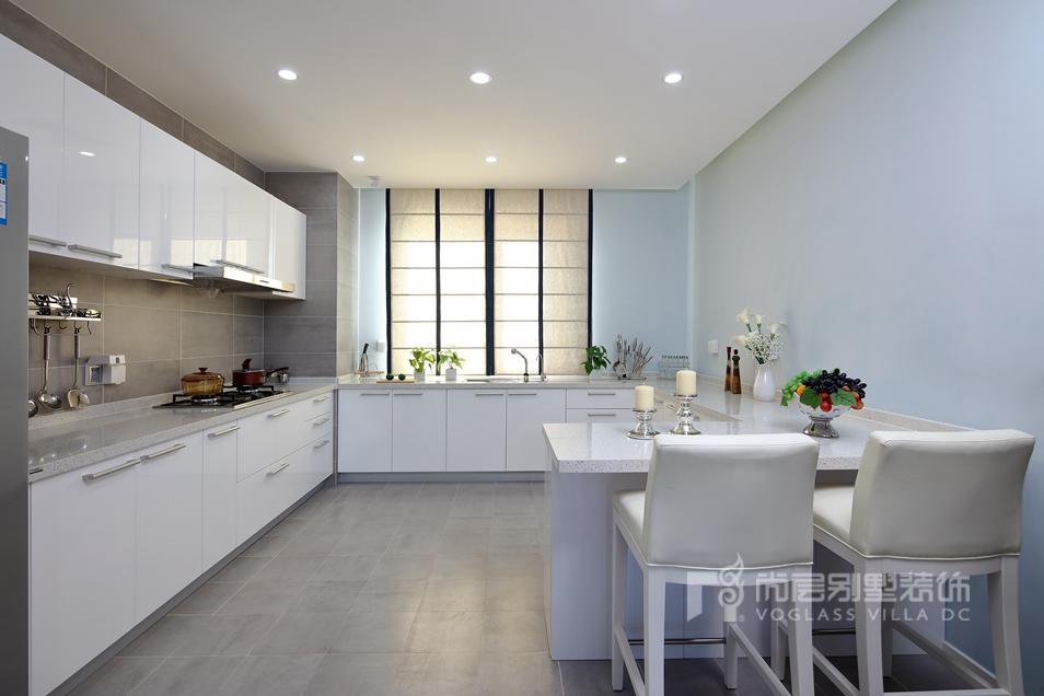 现代简约厨房别墅装修实景图