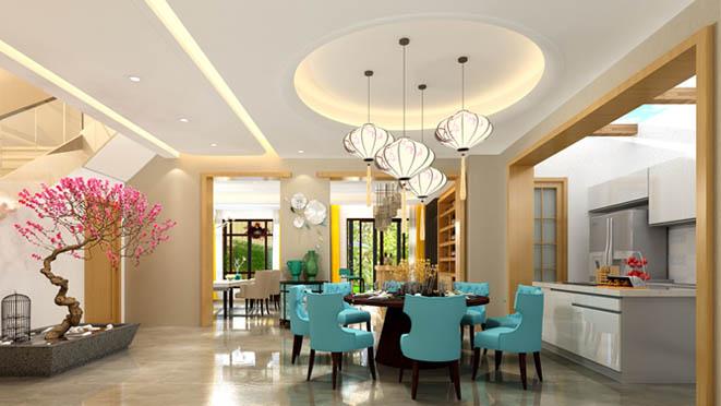 蝶泉花园现代餐厅别墅装修效果图