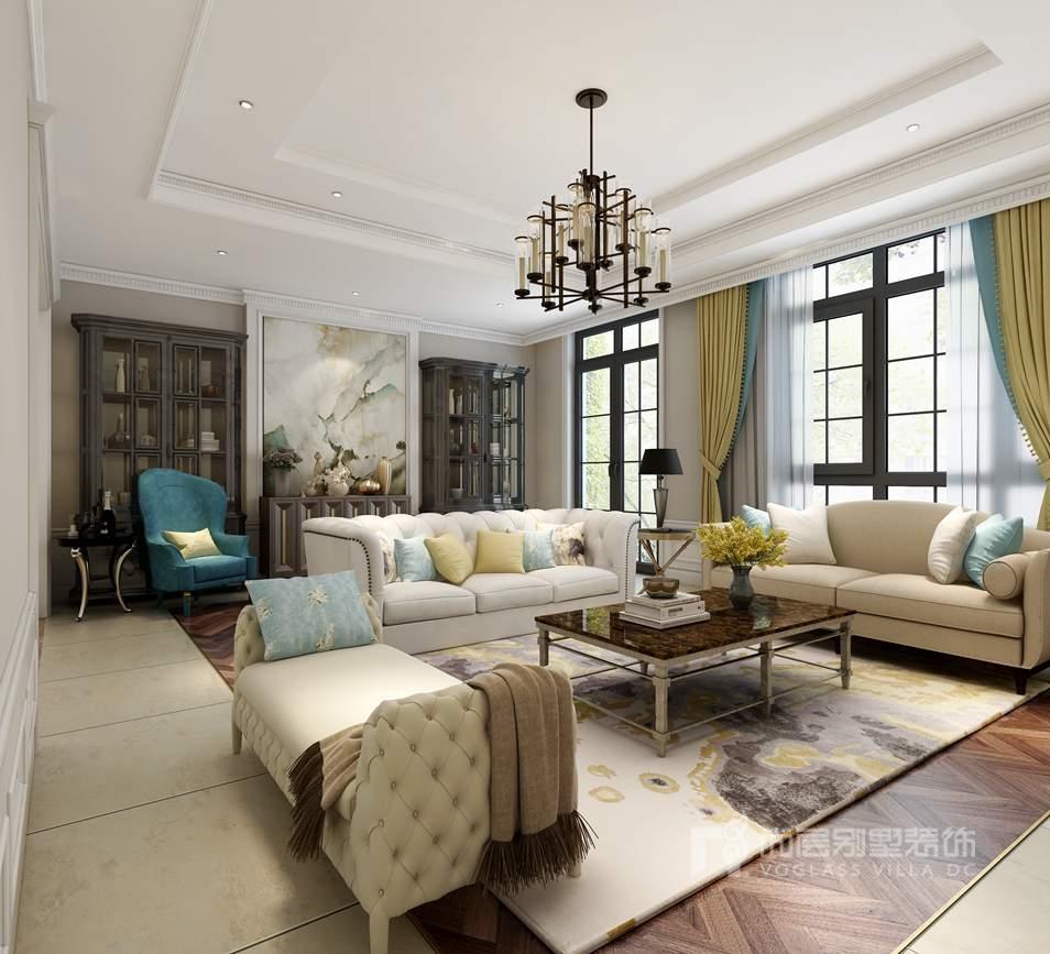 双珑原著简约美式客厅别墅装修效果图
