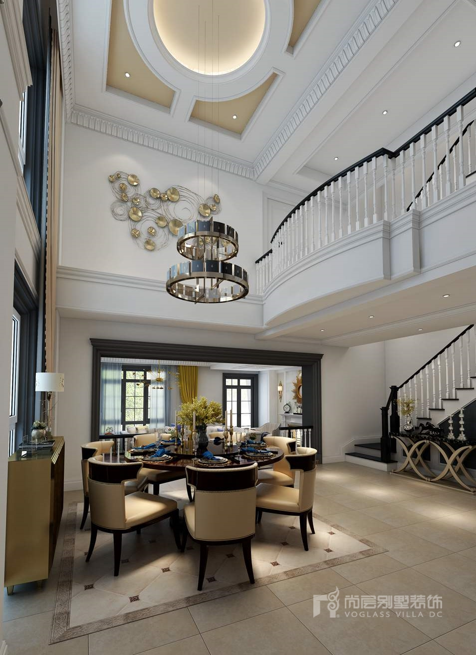 远洋天著现代新古典餐厅别墅装修效果图