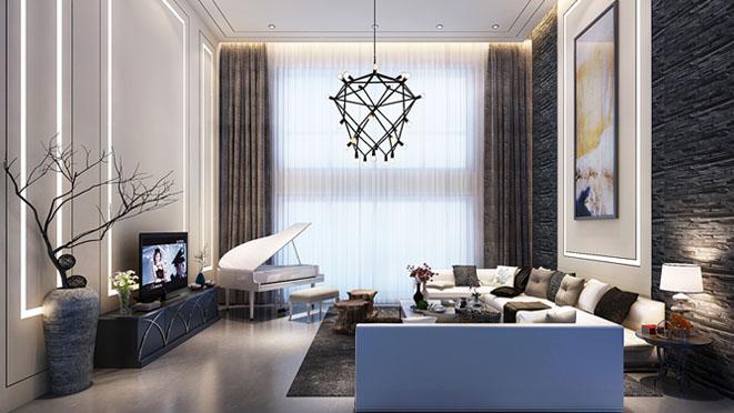 誉天下新中式客厅别墅装修效果图