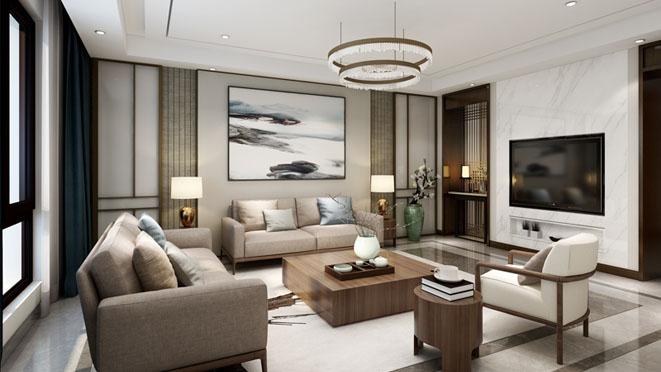 千章墅现代中式客厅别墅装修效果图