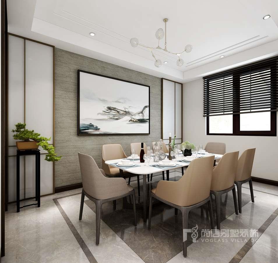 千章墅现代中式餐厅别墅装修效果图