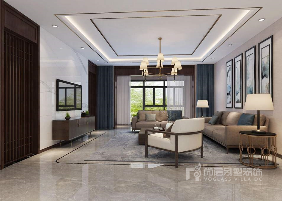 瑞河兰乔新中式客厅别墅装修效果图