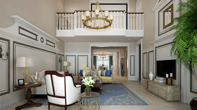 K2百合湾现代美式客厅别墅装修效果图