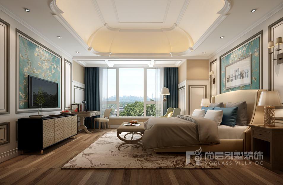K2百合湾现代美式主卧别墅装修效果图