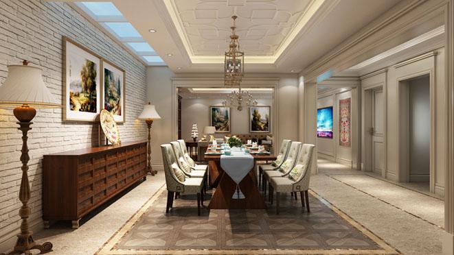 观承别墅简美、中式餐厅别墅装修效果图
