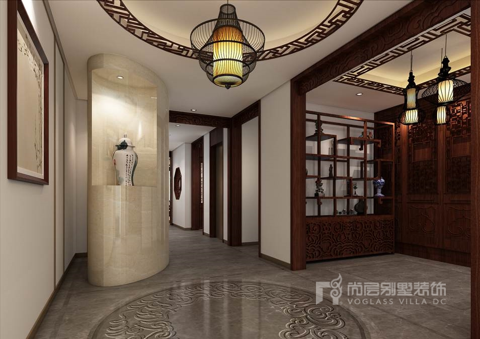 观承别墅简美、中式门厅别墅装修效果图