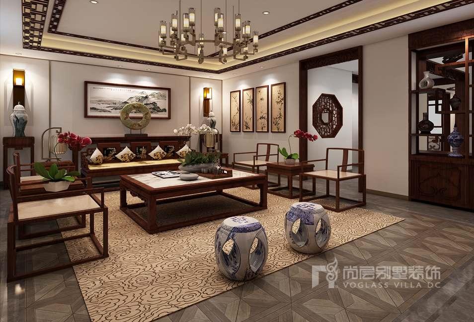 观承别墅简美,中式客厅别墅装修效果图