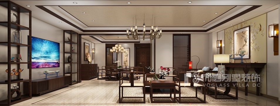 紫禁壹号院新中式一层餐厅别墅装修效果图
