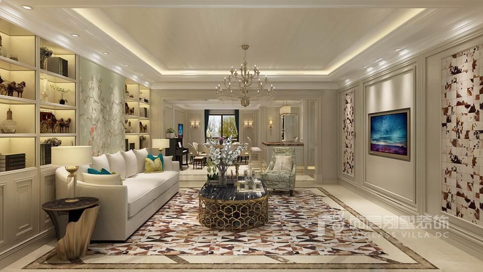 远洋天著简欧现代客厅别墅装修效果图