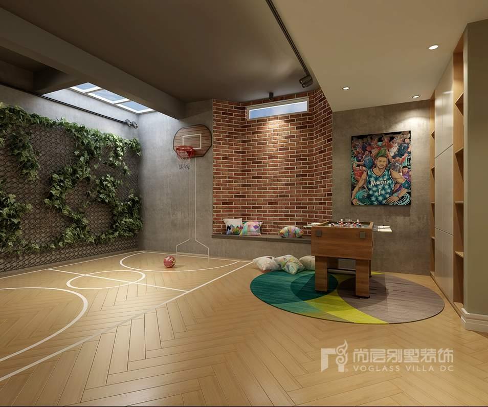 鲁能七号院美式轻奢负一层别墅装修效果图
