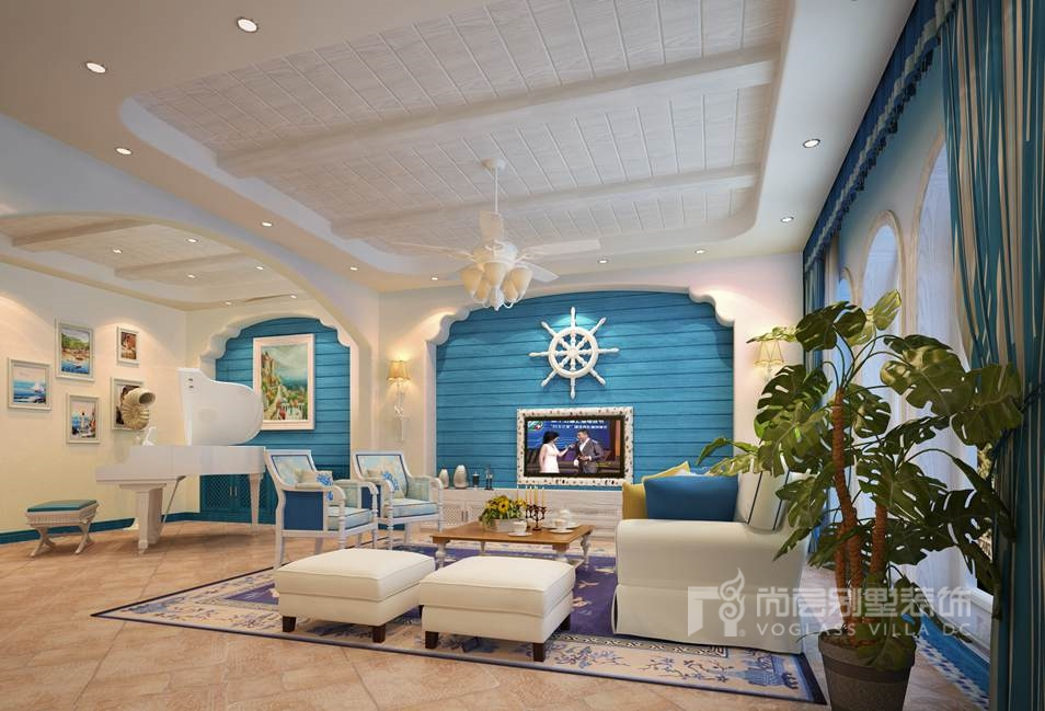 南湖一号地中海客厅别墅装修效果图
