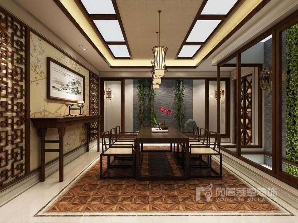 紫禁壹号院简法中式茶室别墅装修效果图
