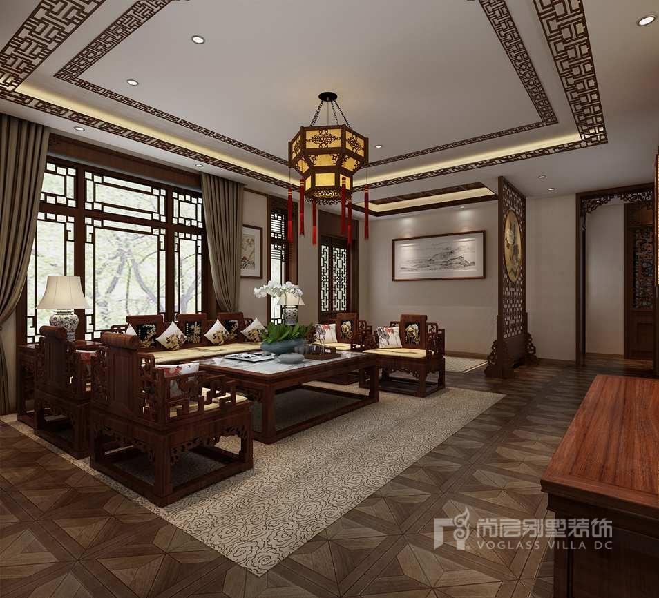 龙山新新小镇中式客厅别墅装修效果图