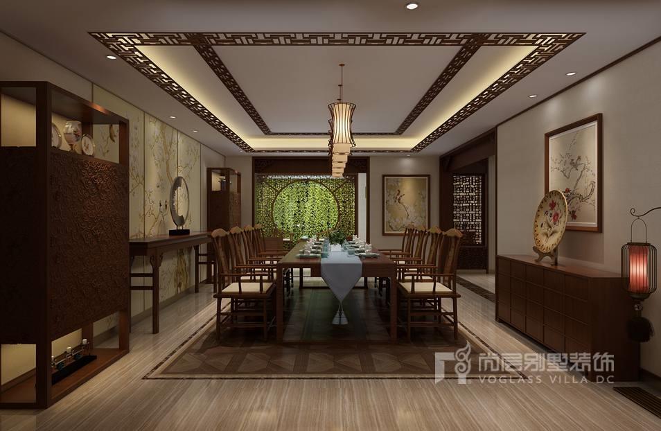 龙山新新小镇中式餐厅别墅装修效果图