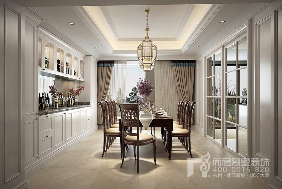 顺发恒园别墅装修-杭州美式别墅装修餐厅-美式别墅设计