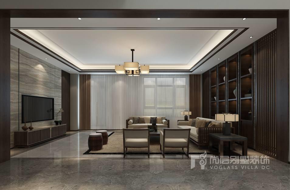 远洋天著新中式客厅别墅装修效果图