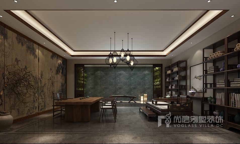 远洋天著新中式茶室别墅装修效果图